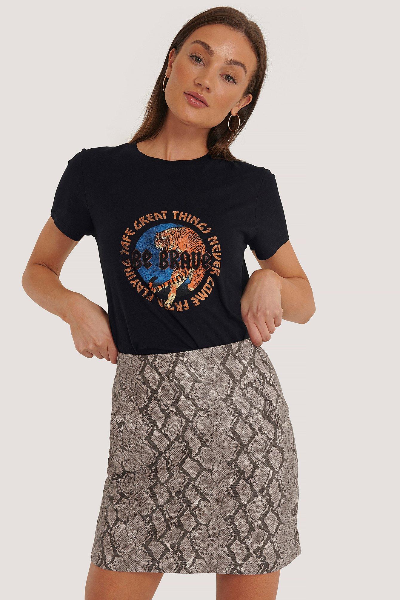 NA-KD Snake Print Mini Skirt - Multicolor