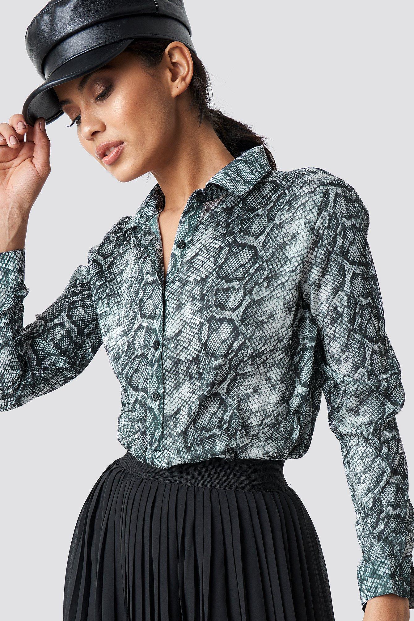 na-kd -  Snake Print Tunic Shirt - Multicolor
