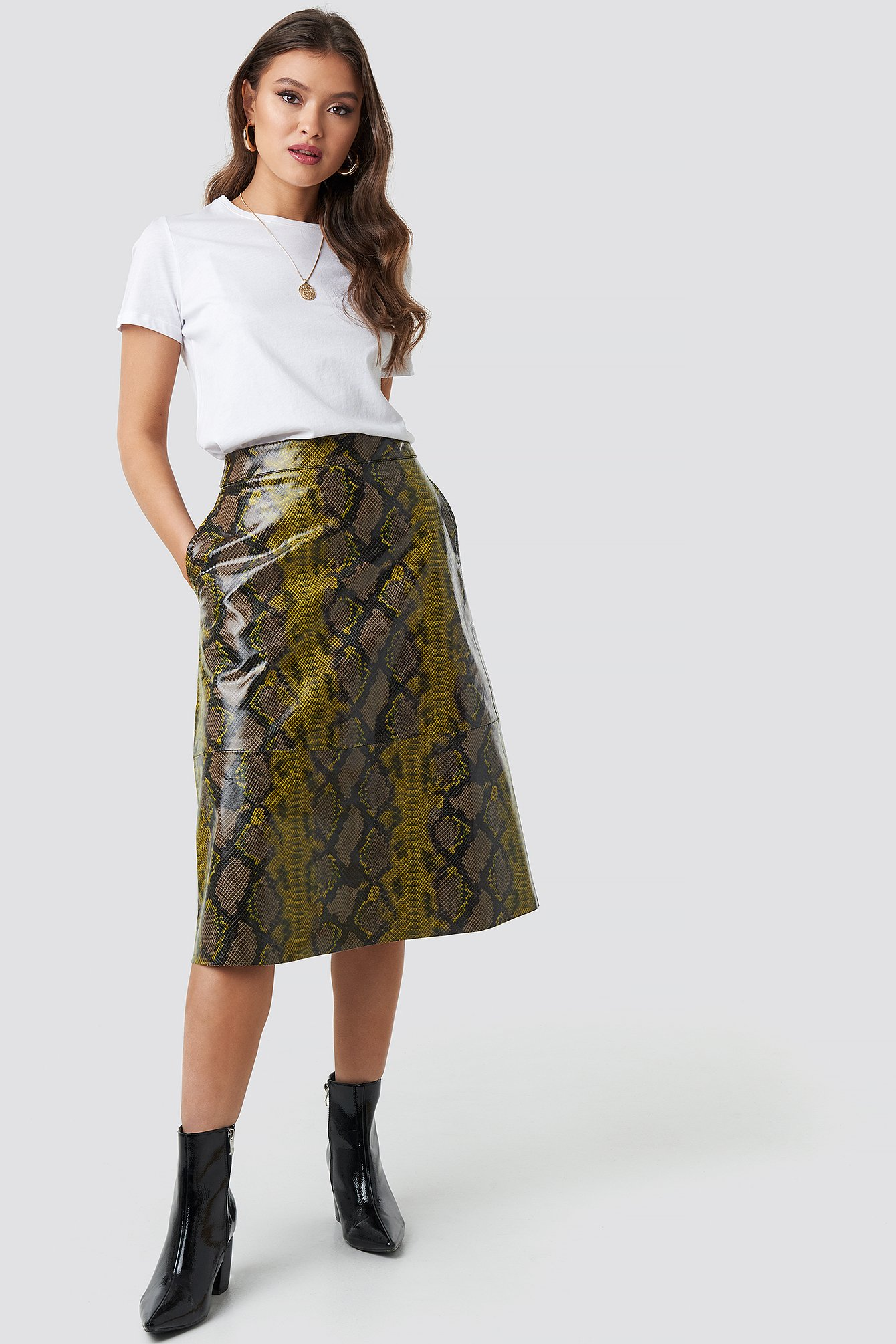 na-kd trend -  Snake Printed A Line Midi Skirt - Brown,Green,Multicolor