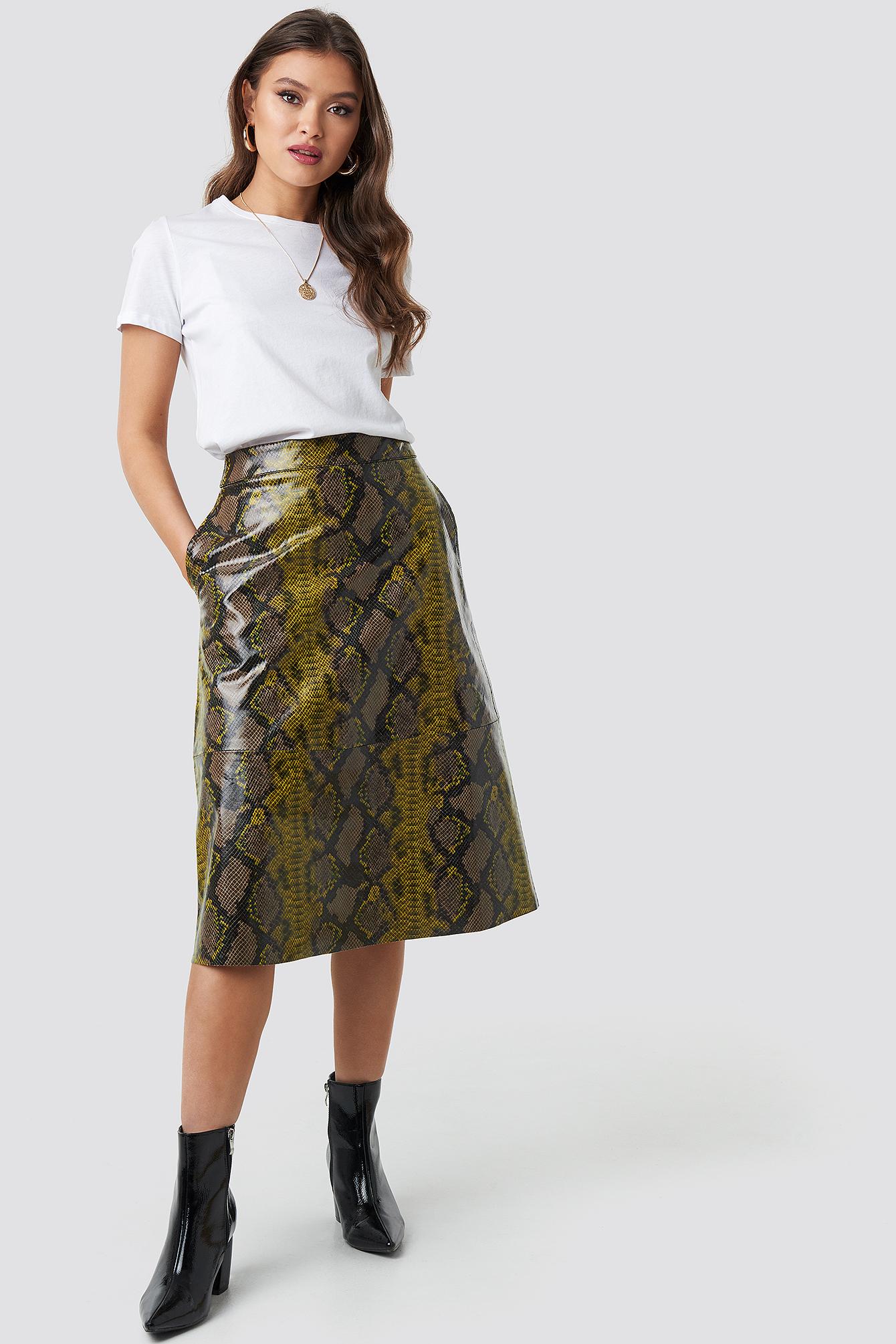 Snake Printed A Line Midi Skirt NA-KD.COM