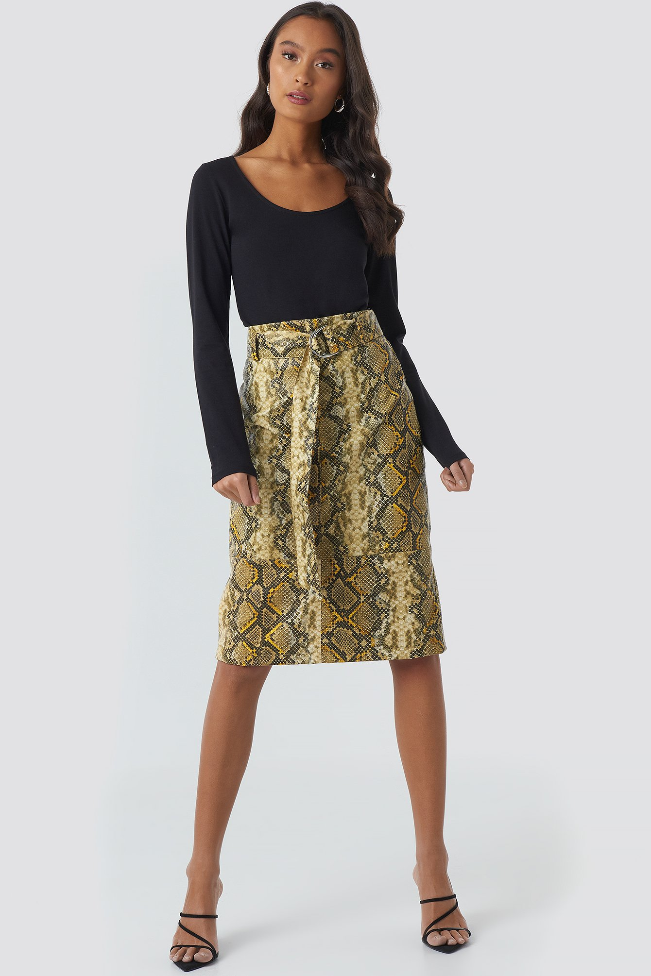 NA-KD Trend Snake Printed Belted PU Skirt - Multicolor