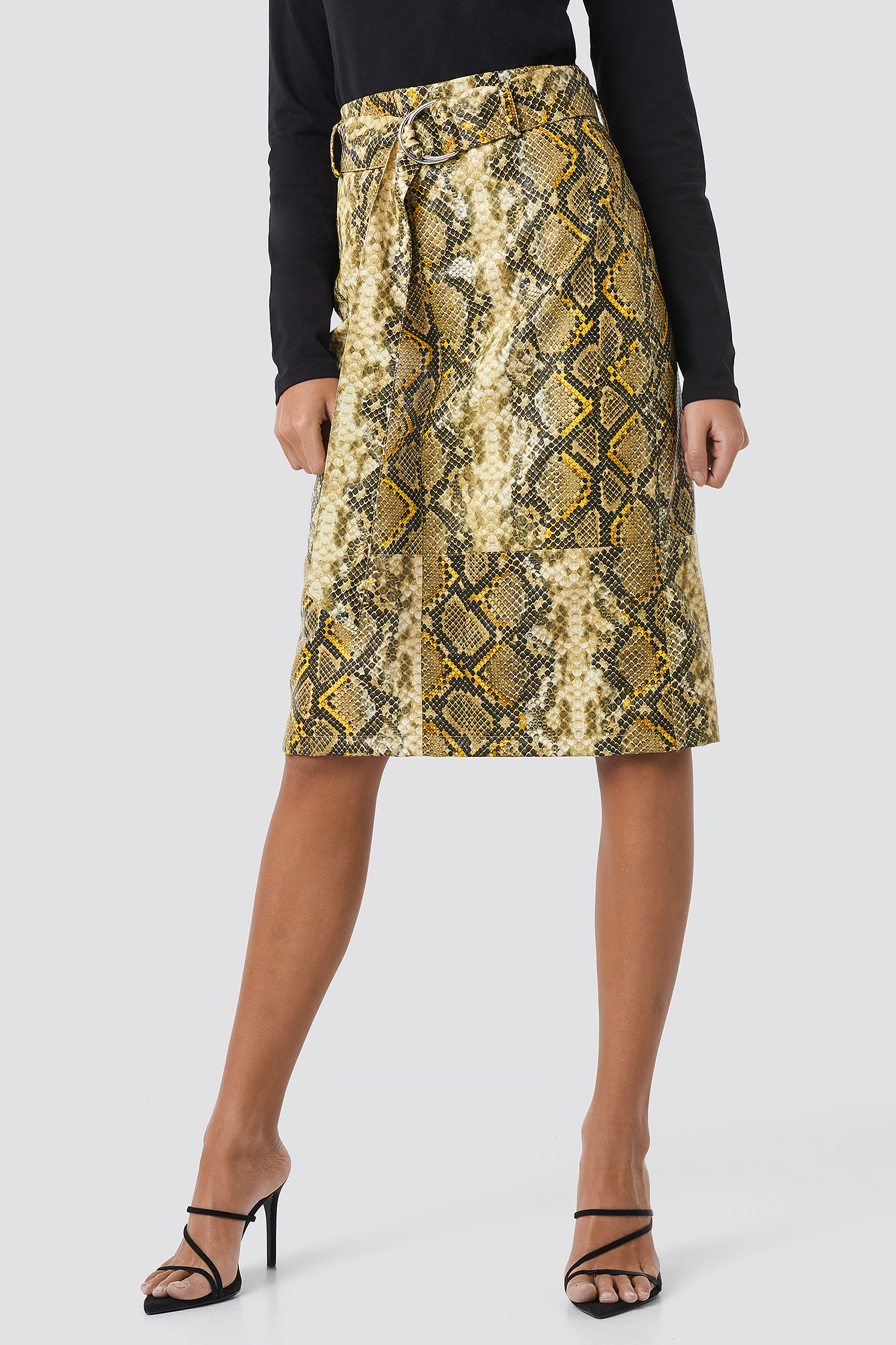 Snake Printed Belted PU Skirt NA-KD.COM