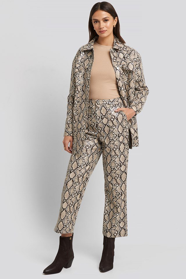 Snake Printed Cropped Pants Print
