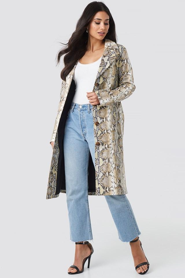 Snake Printed PU Coat Beige