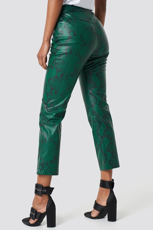 Snake Printed PU Pants Green