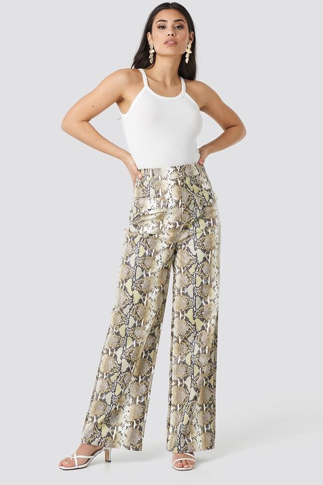 Snake Printed Pu Pants NA-KD Trend