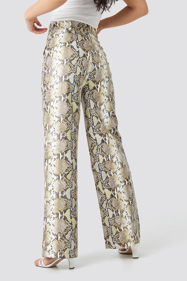 Snake Printed Pu Pants Beige