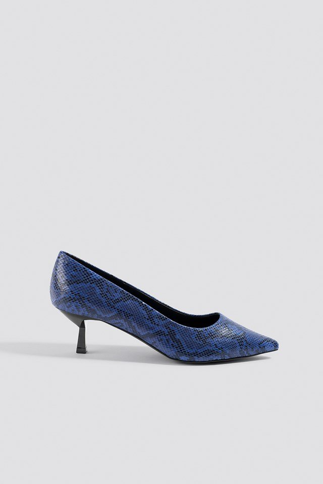 Snake Printed Pumps Cobalt