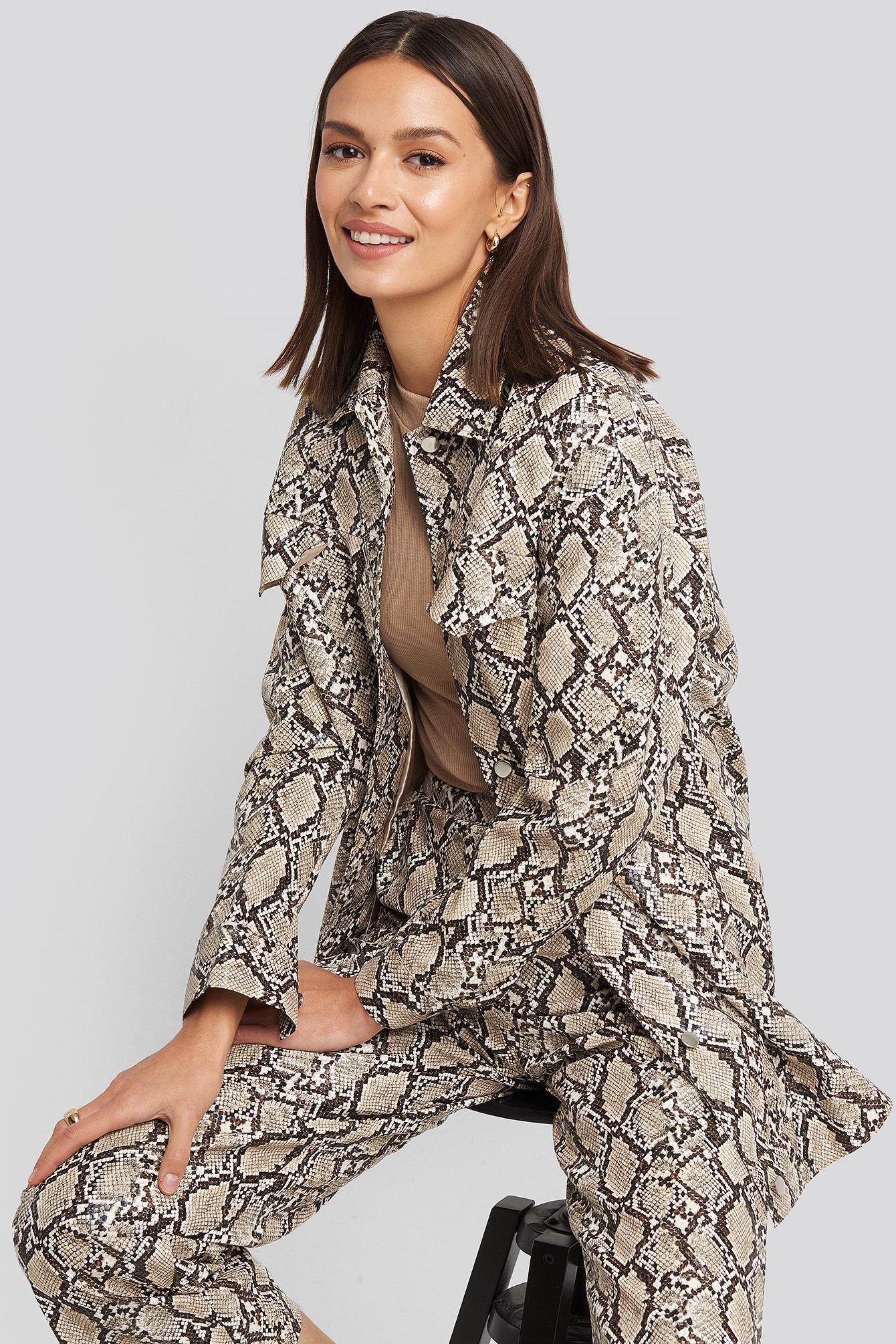 na-kd trend -  Snake Printed Shirt Jacket - Beige,Multicolor