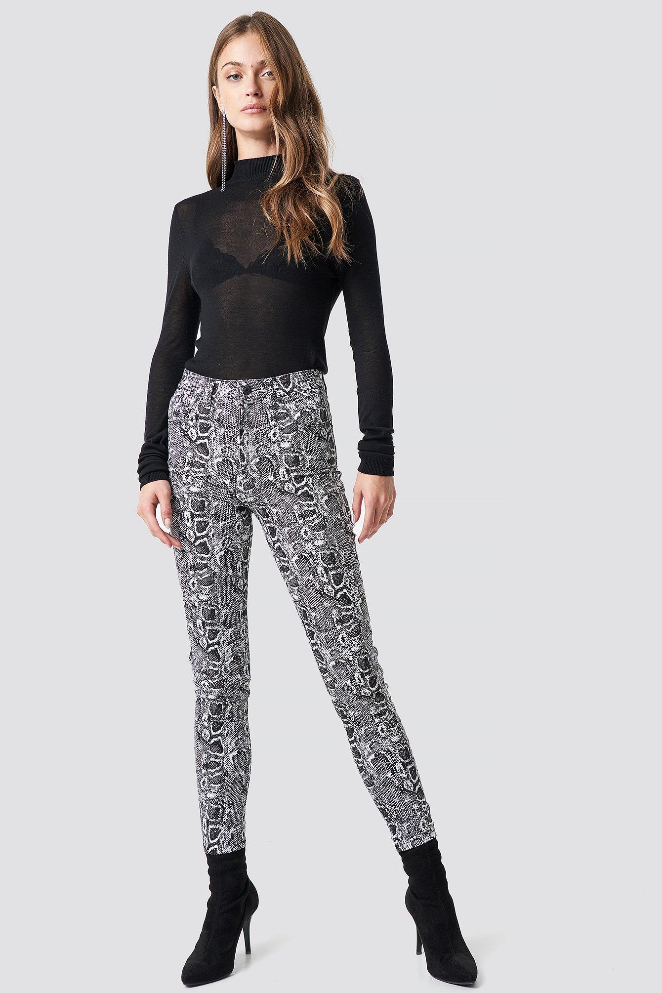 na-kd trend -  Snake Printed Skinny Jeans - Grey,Multicolor