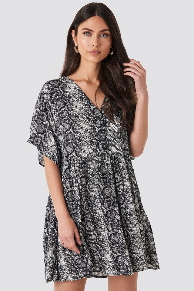 Snake Printed V-neck Dress Snake Print