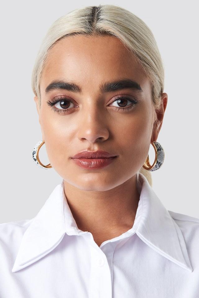 Snake PU Hoop Earrings NA-KD Accessories