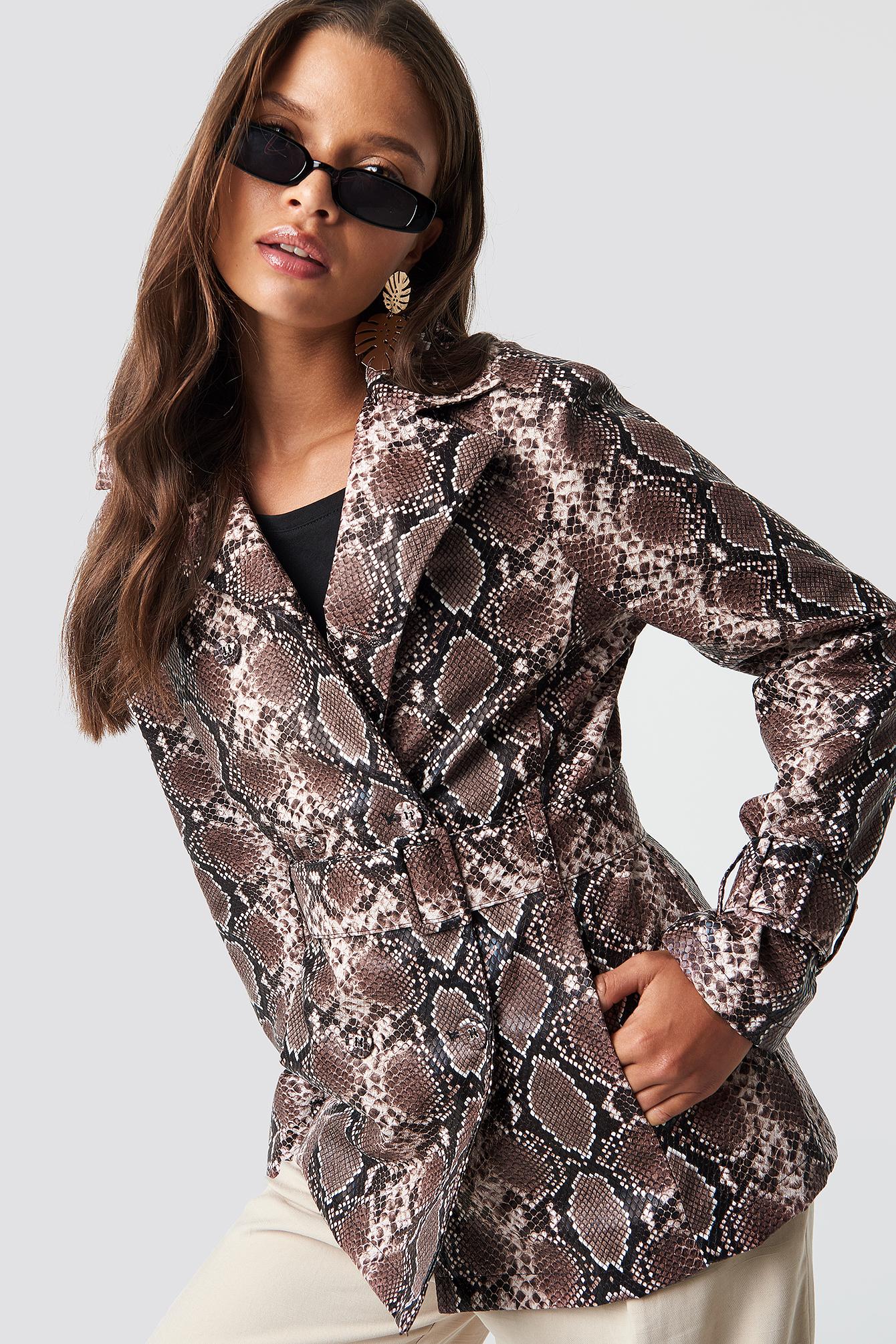 na-kd trend -  Snake PU Belted Jacket - Brown,Multicolor