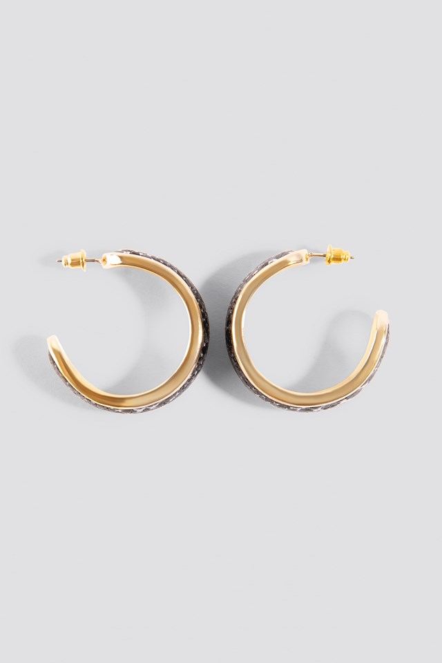 Snake PU Hoop Earrings Grey