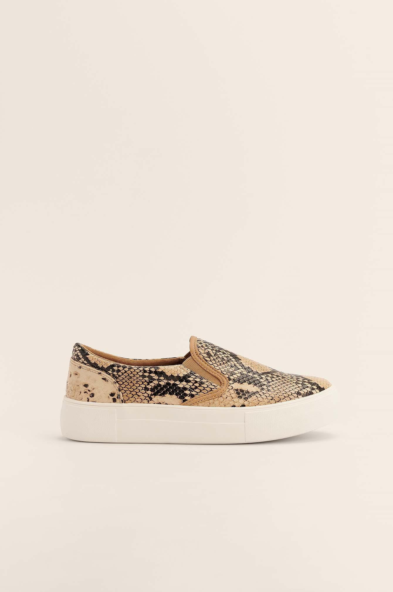 NA-KD Shoes Slip-In Sneakers Med Slangeskindsmønster - Multicolor