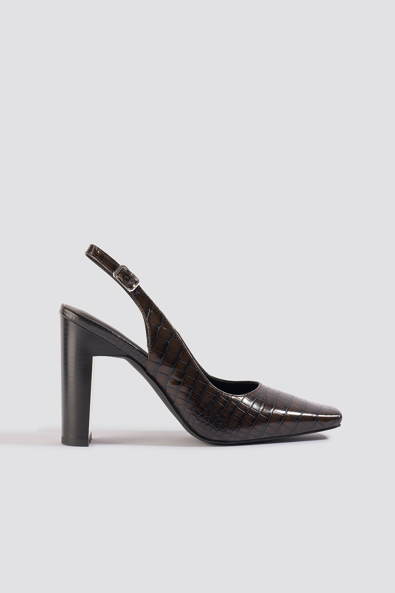 na-kd shoes -  Snake Squared Front Slingback Pumps - Brown