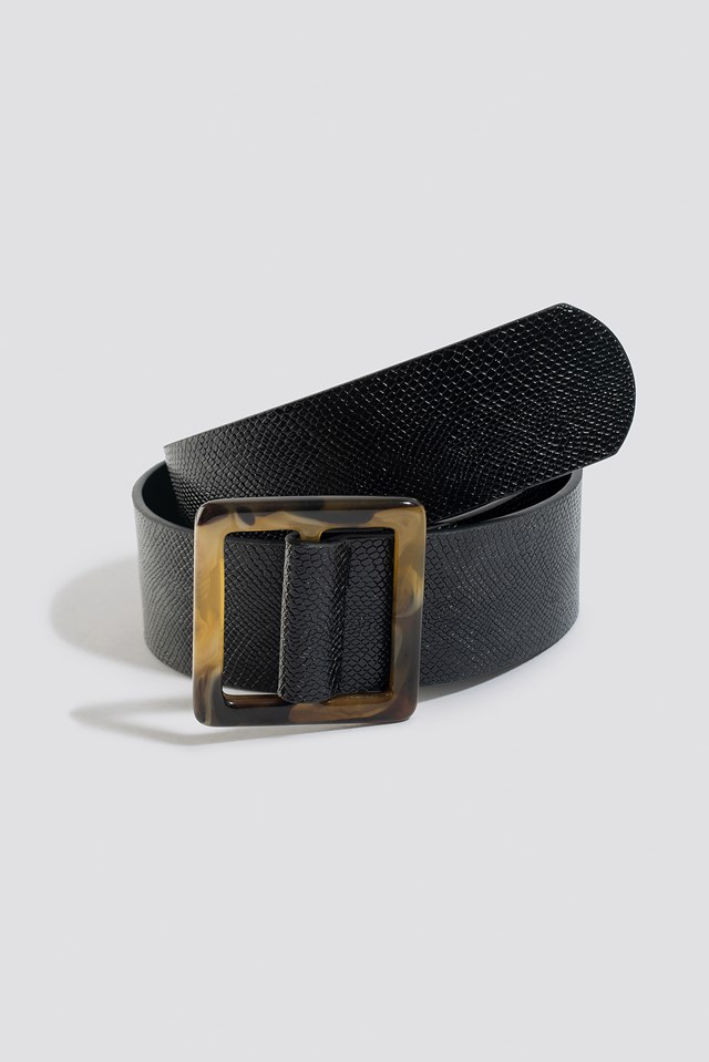 Snake Tortoise Buckle Belt Black