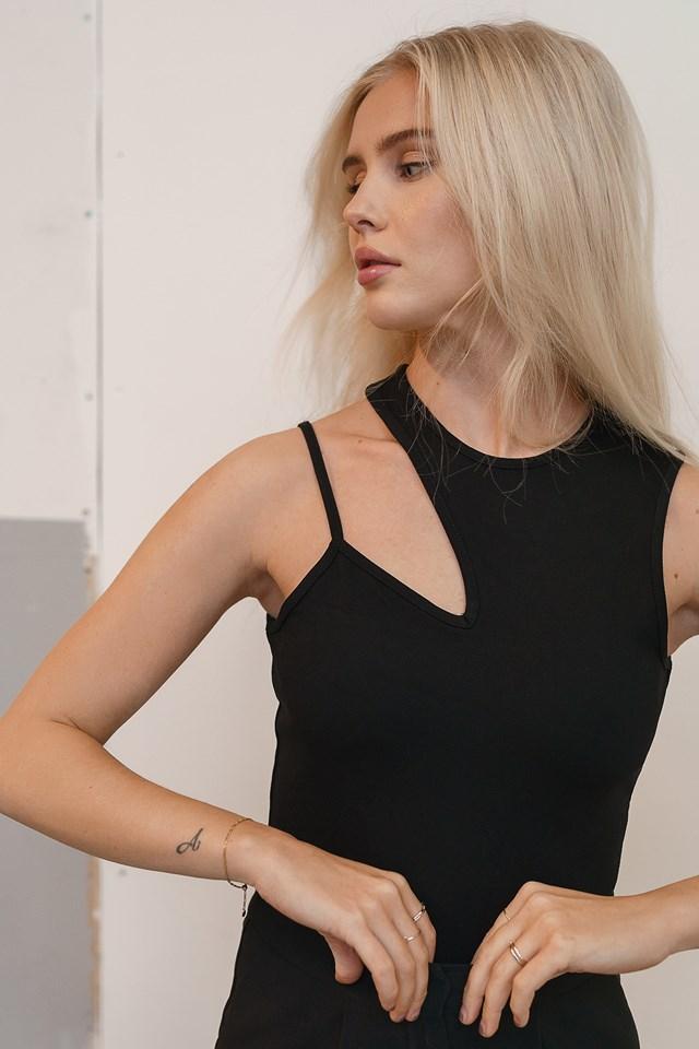 Cut Detail Jersey Top Black