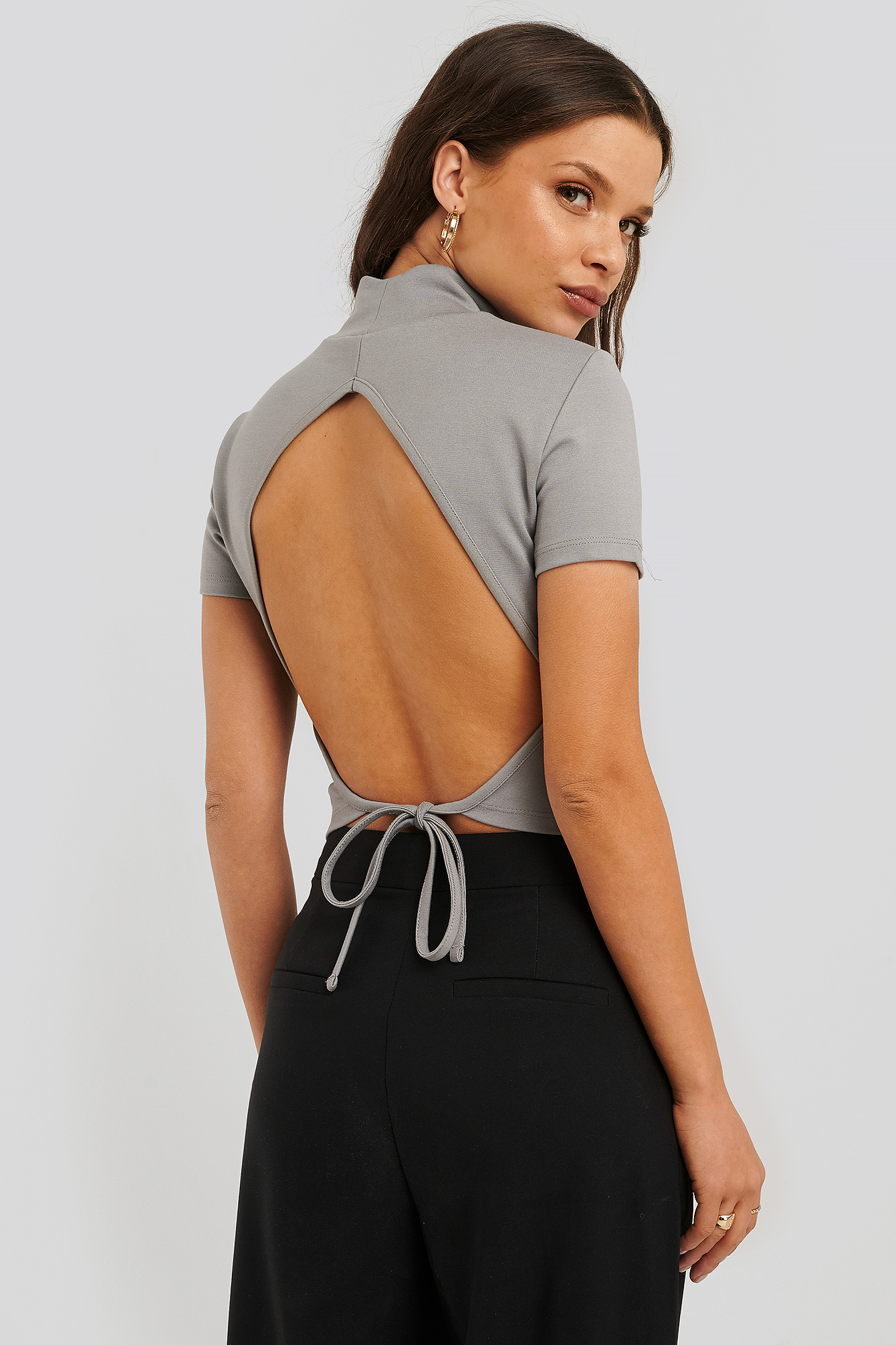 Grey Open Back High Neck Top