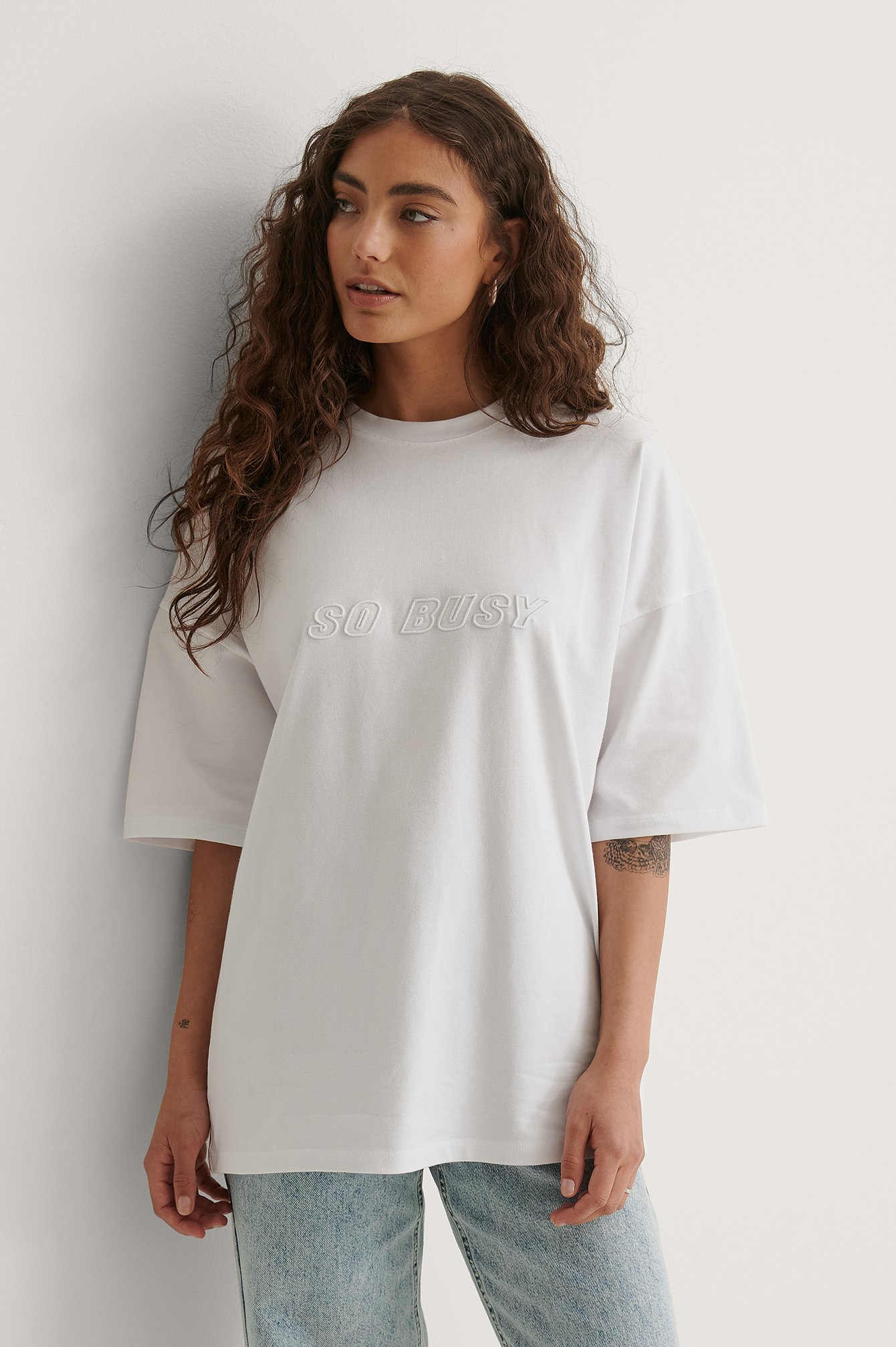 White So Busy Oversized T-shirt
