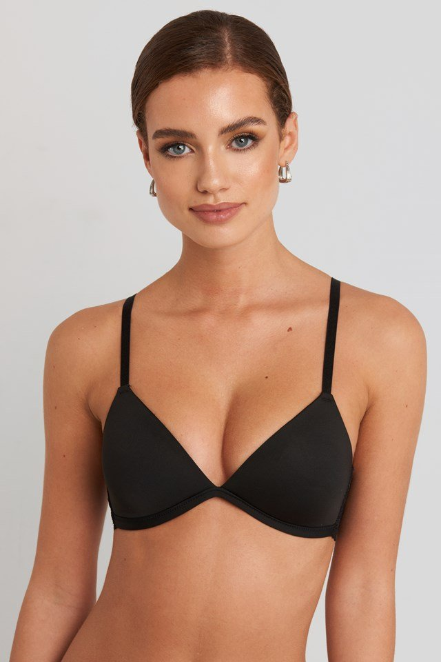 Soft-Cup Lace Micro Bra Black