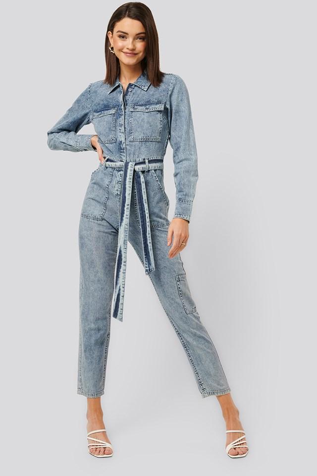 Soft Denim Jumpsuit Blue
