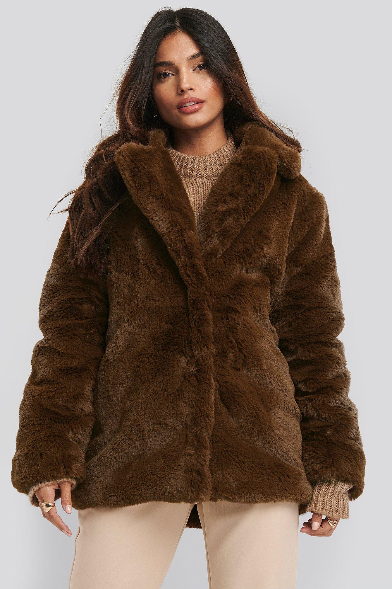 dilara x na-kd -  Soft Faux Fur Jacket - Brown