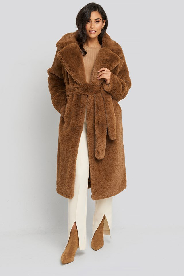 Soft Faux Fur Long Coat Brown
