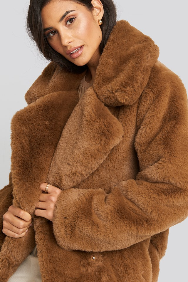 Soft Faux Fur Long Coat Brown