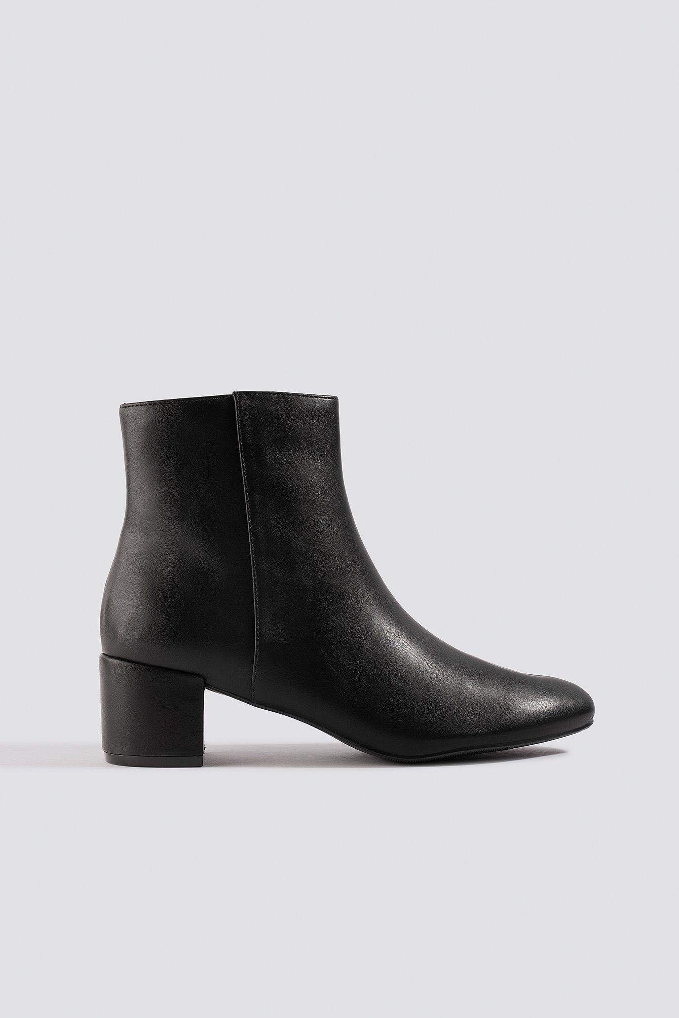 Soft Low Heel Booties Black   na-kd.com