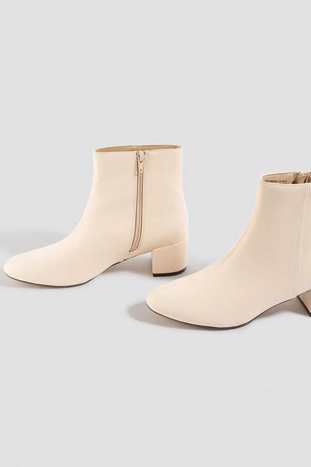 Soft Low Heel Booties Offwhite