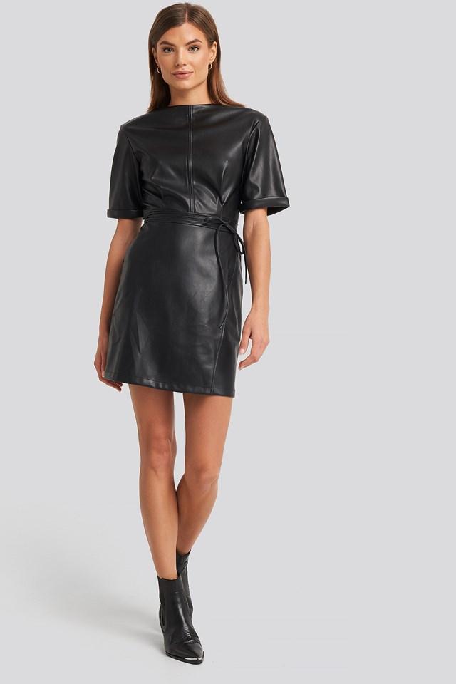 Soft PU Mini Dress Black