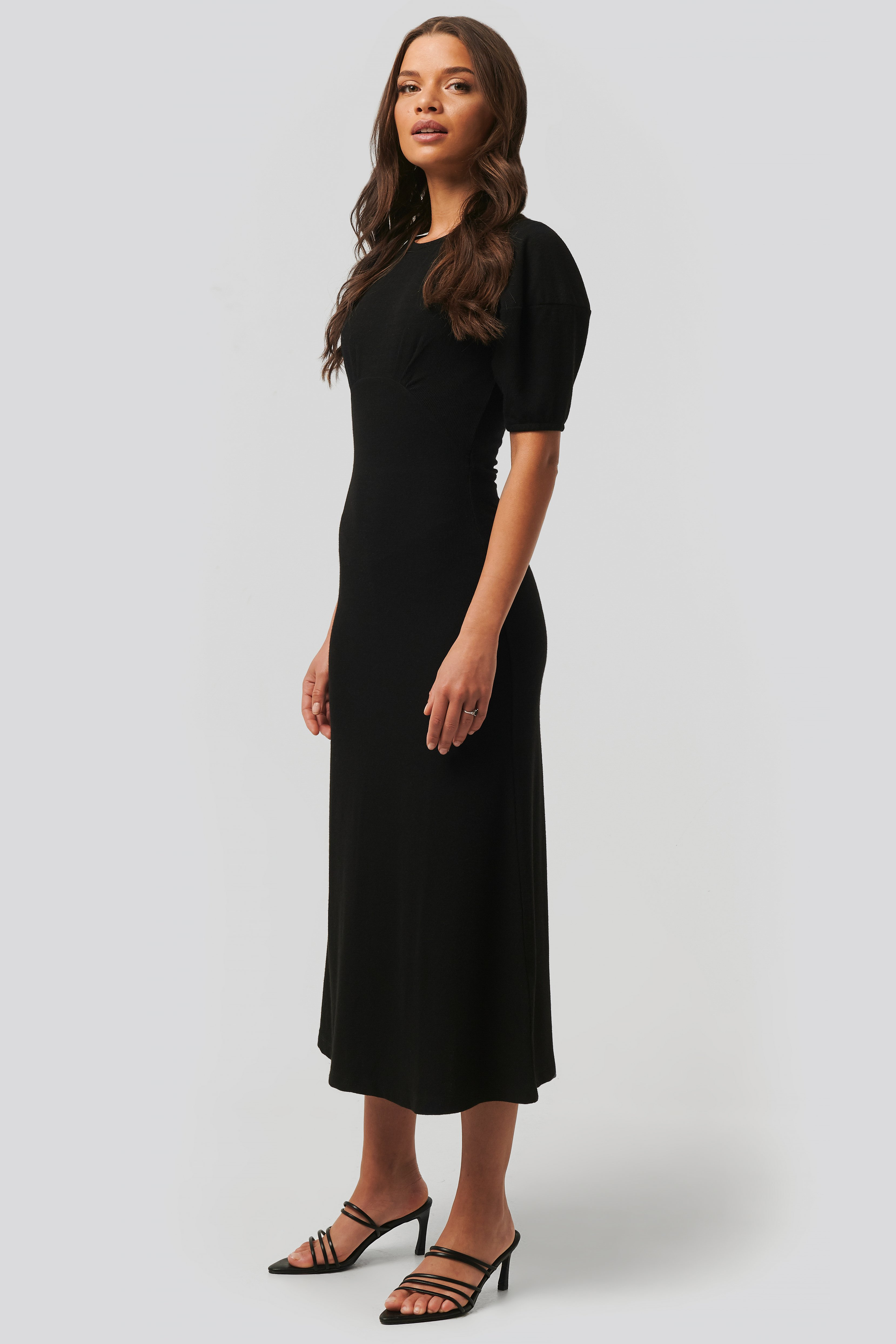 Black Soft Rib Midi Dress
