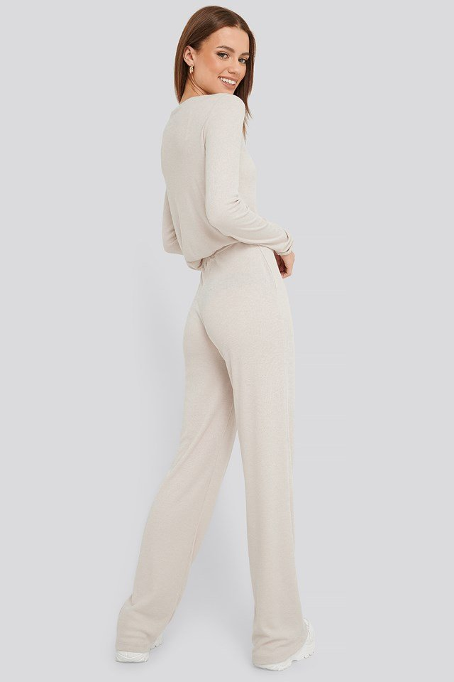 Soft Ribbed Wide Basic Pants Dusty Light Beige