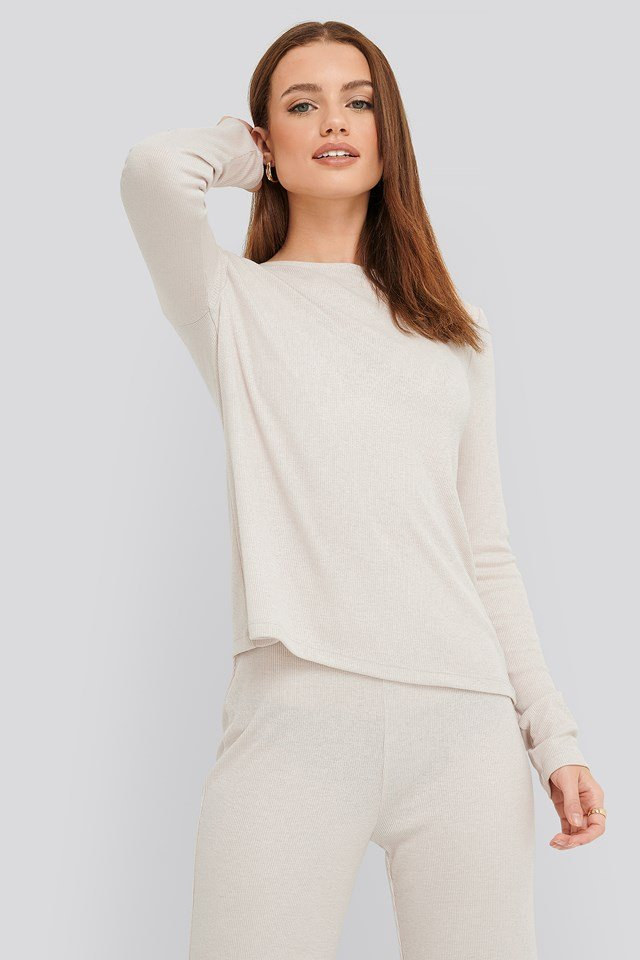 Soft Ribbed Roundneck Long Sleeve Dusty Light Beige