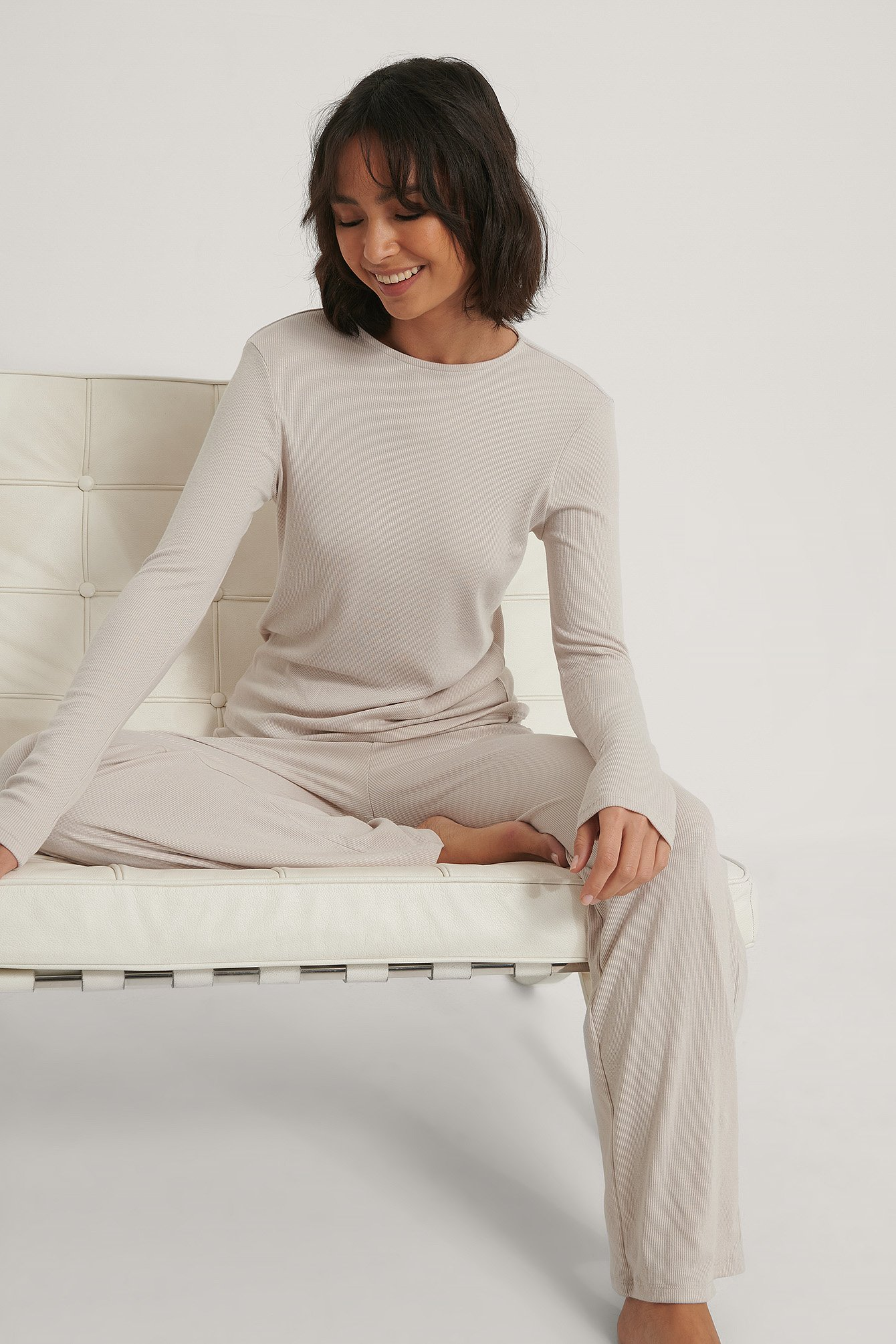 Dusty Light Beige Soft Ribbed Roundneck Long Sleeve
