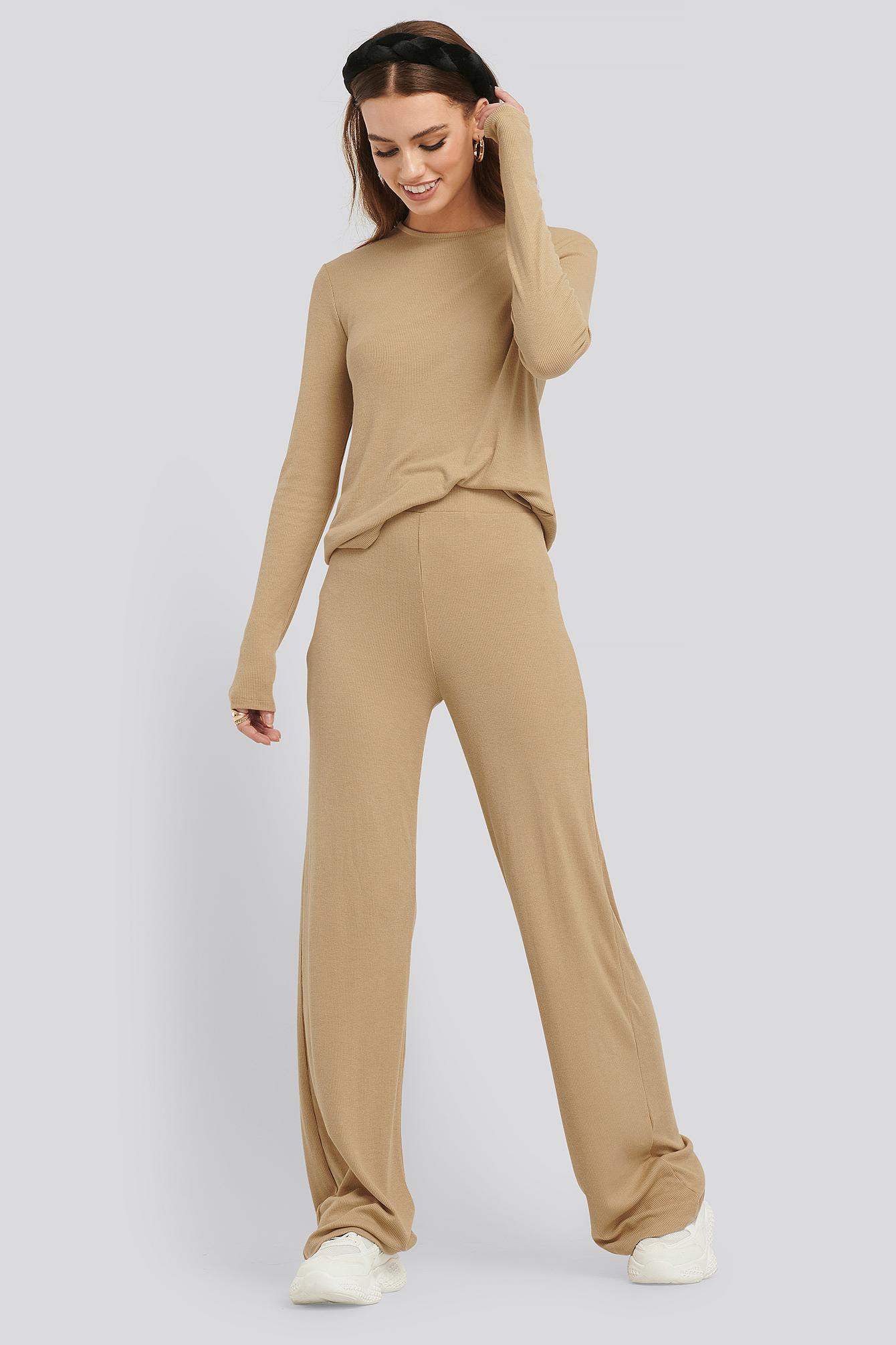 na-kd basic -  Soft Ribbed Wide Basic Pants - Beige