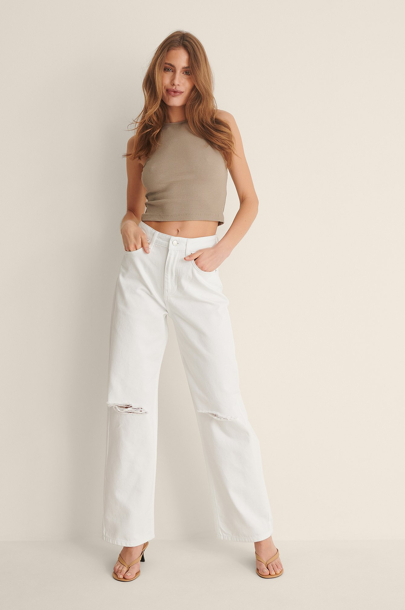 White Organic Soft Rigid Wide Leg Destroyed Jeans