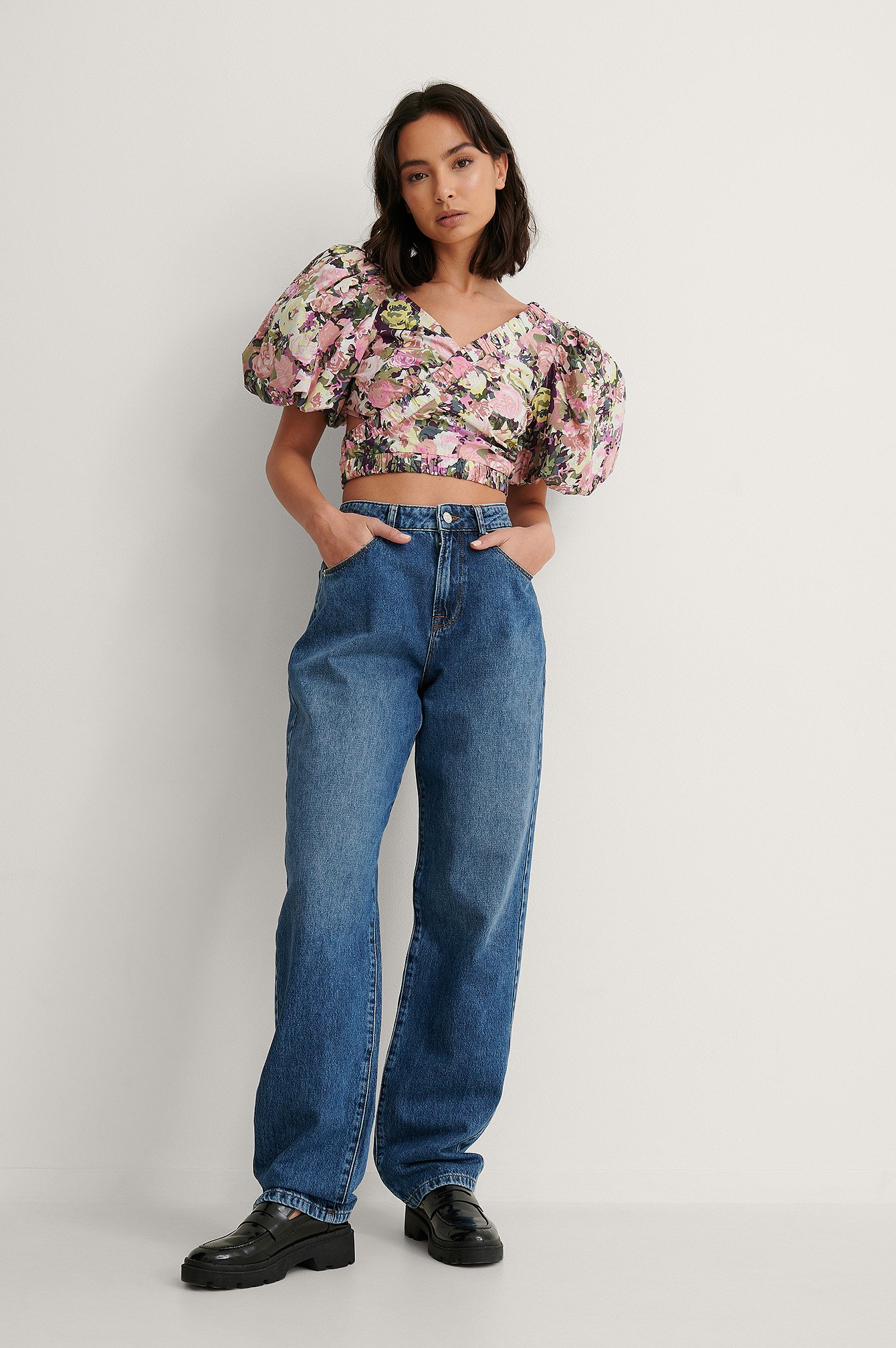 Mid Blue Soft Rigid Oversized Long Jeans