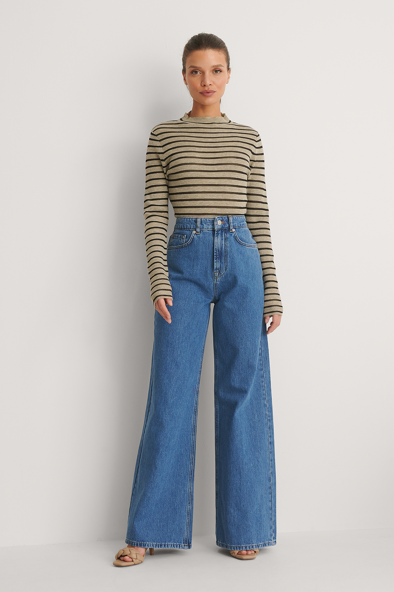 Mid Blue Soft Rigid Wide Jeans