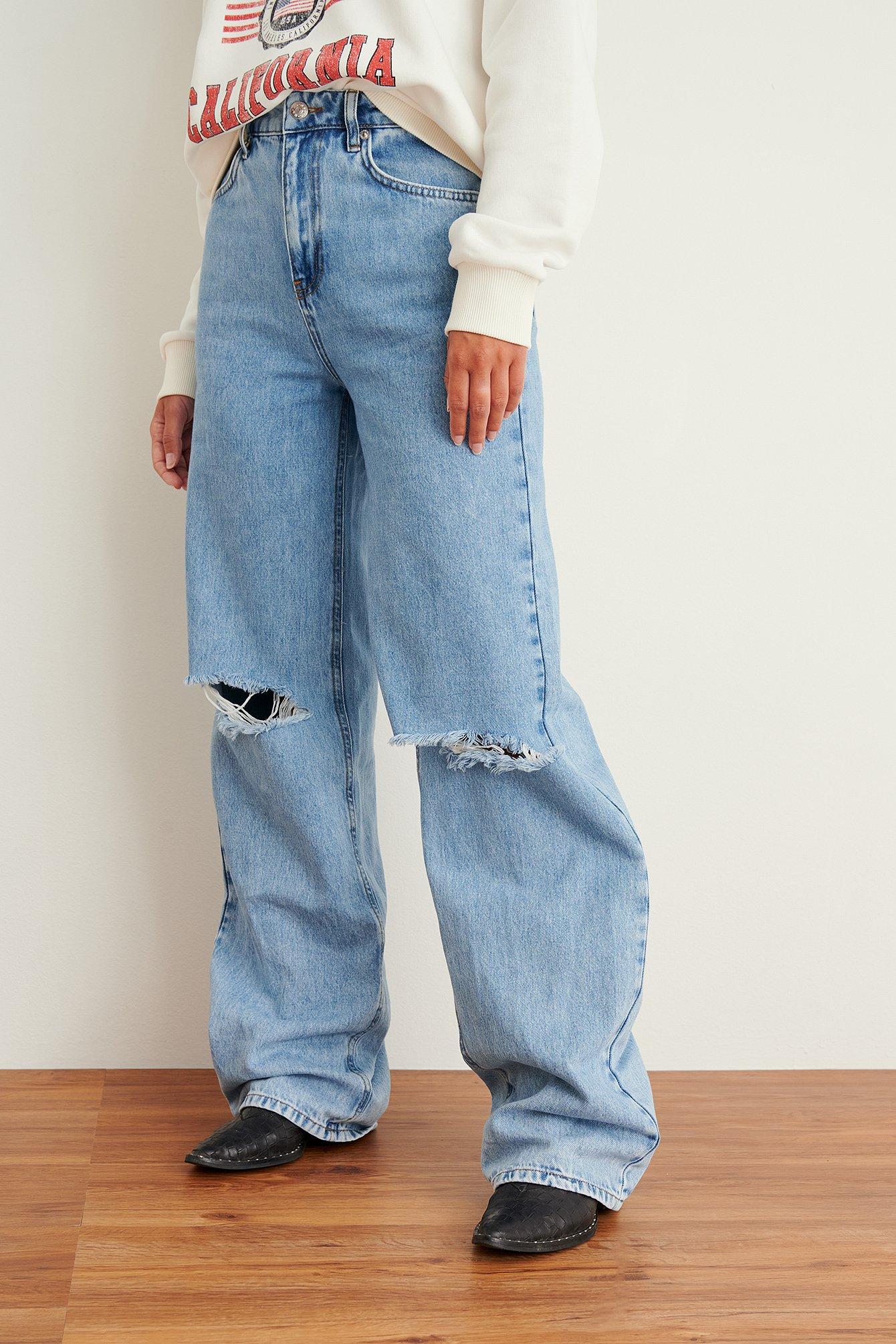 NA-KD Trend Økologiske Bløde Faste Jeans Med Vide Ben Og Huller - Blue
