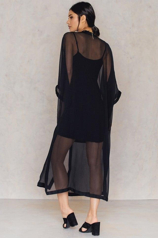 Solid Chiffon Dress Black