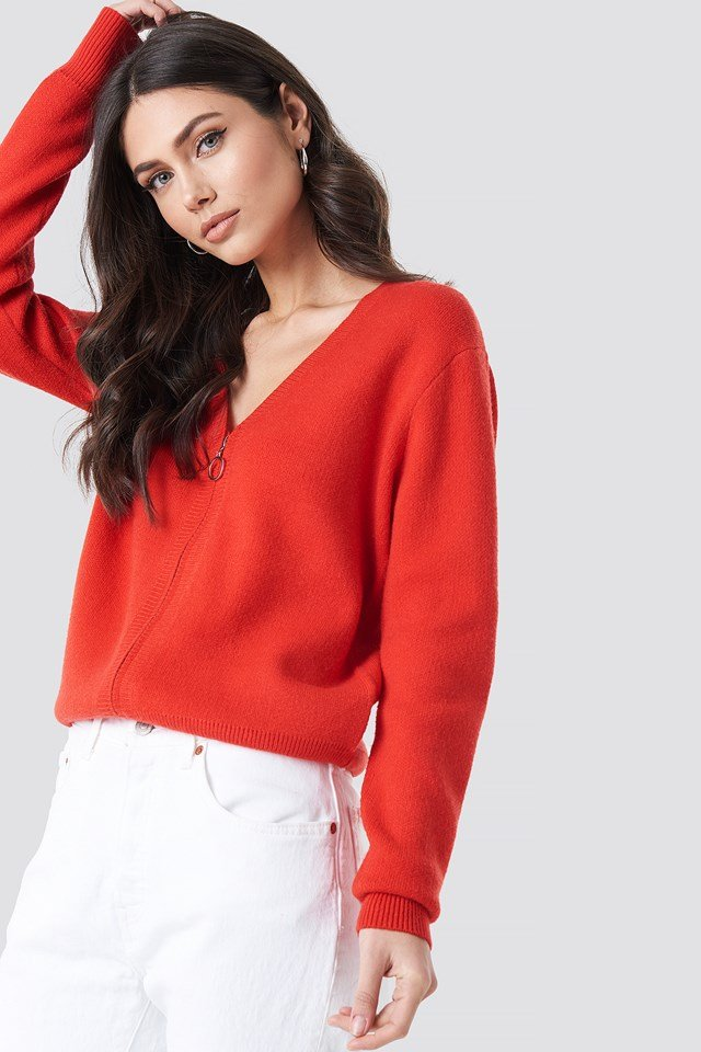 Solid Knitted Cardigan Red