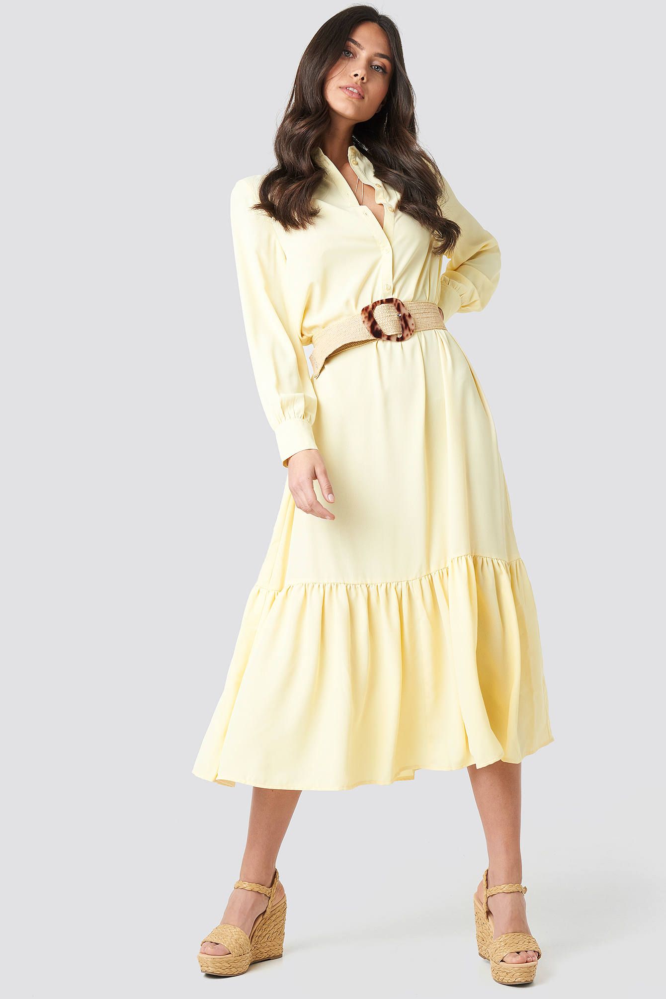 na-kd trend -  Solid Maxi Dress - Yellow