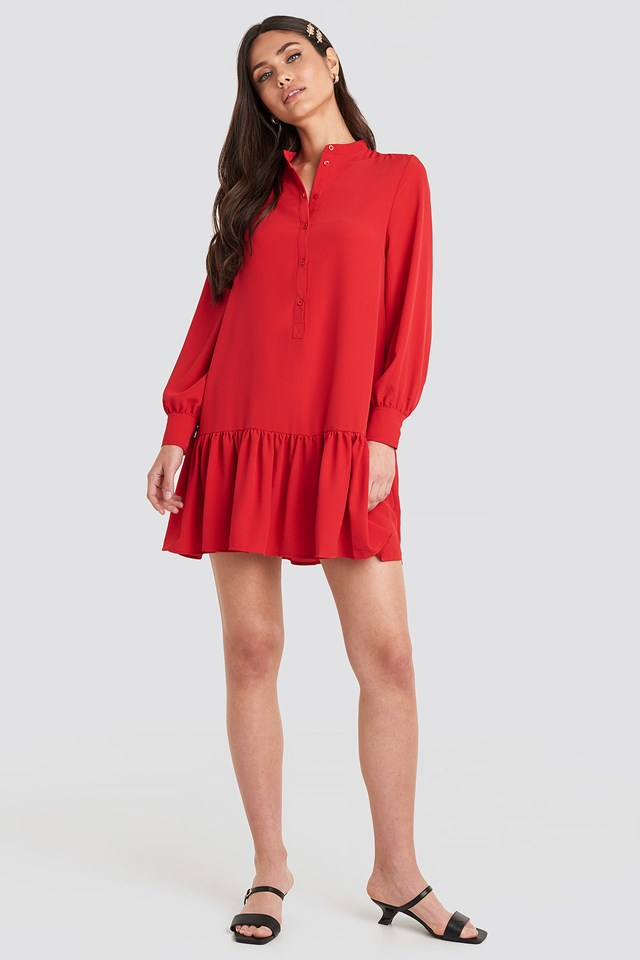 Solid Mini Dress Red