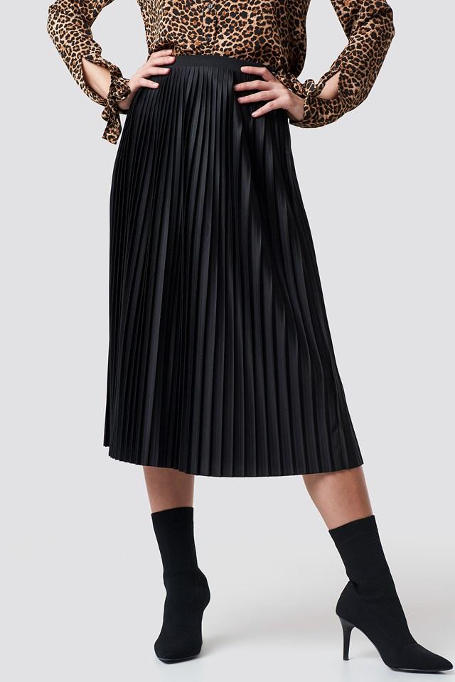 Solid Pleated Midi Skirt Black