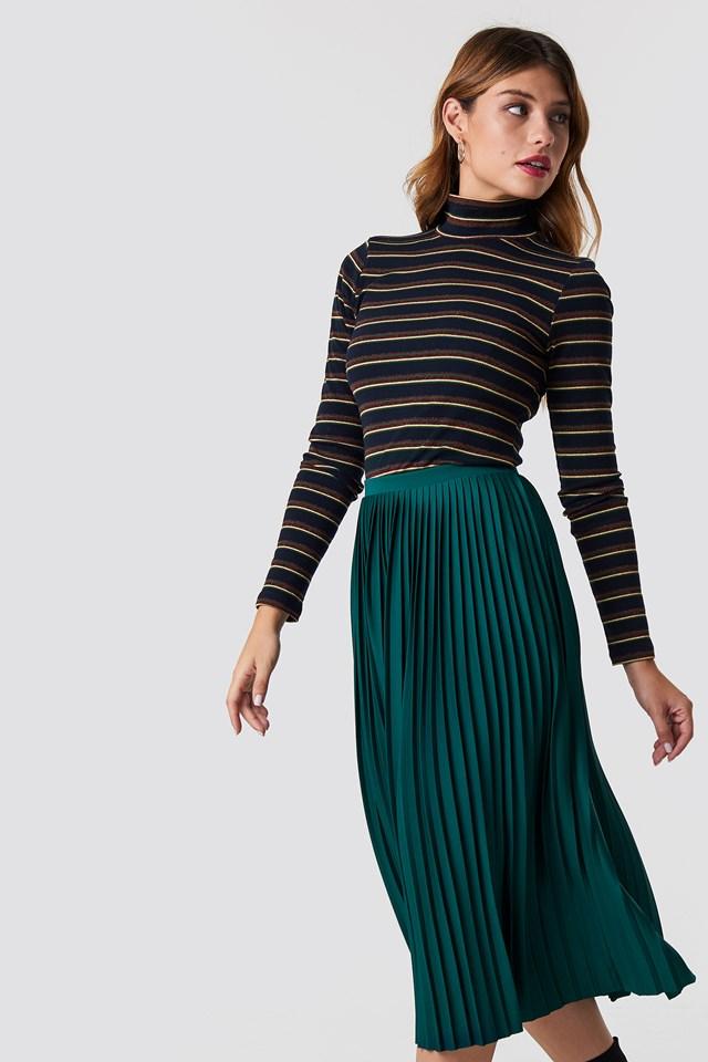 Solid Pleated Midi Skirt Dark Green
