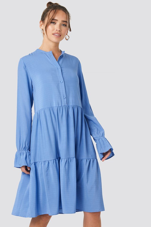 Solid Shirt Dress Blue