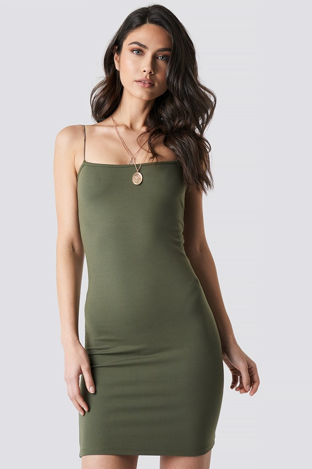 Spaghetti Strap Dress Khaki Green