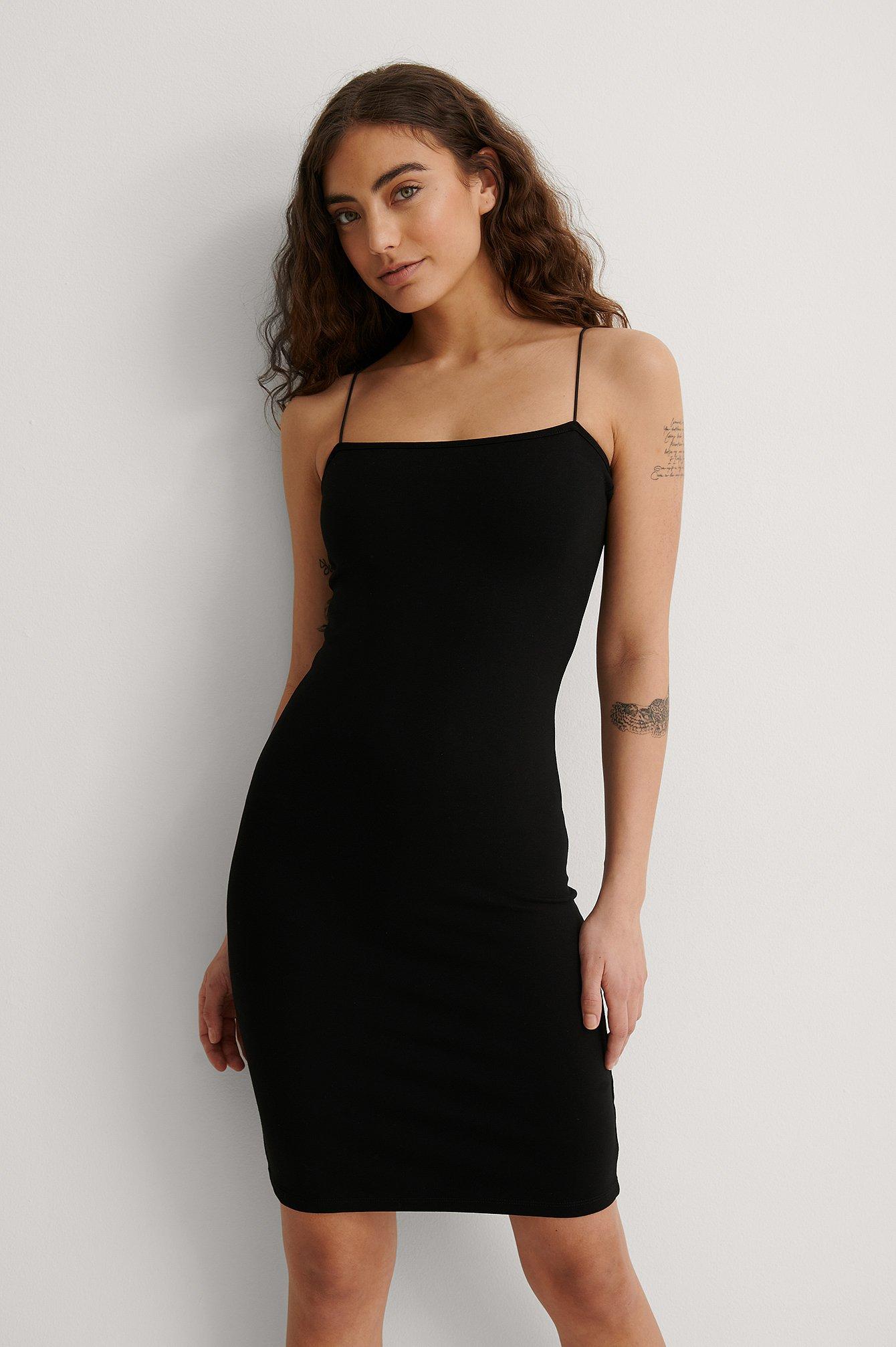na-kd party -  Spaghetti Strap Dress - Black